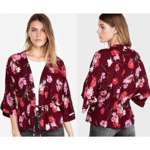 Express Floral Cinched Waist Kimono Top XS